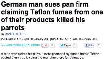 Man Sues Teflon Company Over Parrots' Deaths