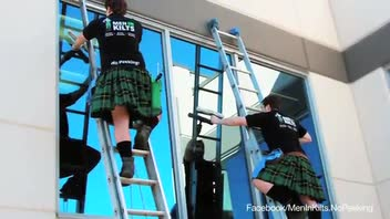 These Window Washers Dress in Kilts