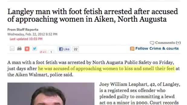 Man in Trouble for Foot Fetish - as part of the news series.