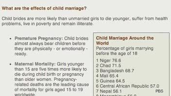 Prevalence of Child Marriages Worldwide