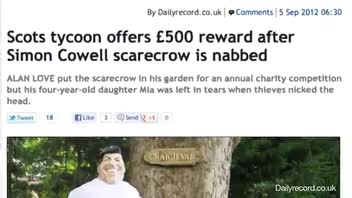 Man Offers Reward for Simon Cowell Scarecrow Head