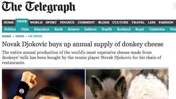 Tennis Star Buys Entire Supply of Donkey Cheese