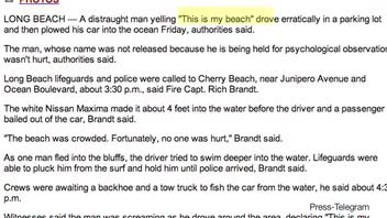 Erratic Driver Leads Car Into the Ocean