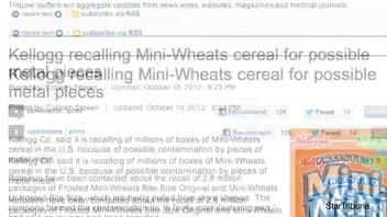 2.8 Million Cereal Boxes Recalled Due to Potential Metal Contamination