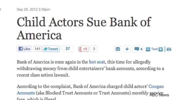 Bank Of America in Legal Battle With Child Actors