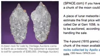 Moon Rock Expected to Fetch Over $340k