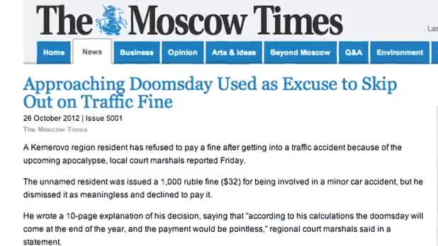 Man Uses Doomsday Excuse to Avoid Traffic Fine