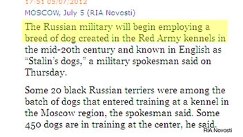 Stalin's Dogs Being Inducted into Russian Military