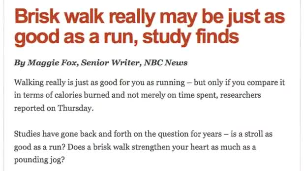 Brisk Walking Can Be as Beneficial as Running: Study