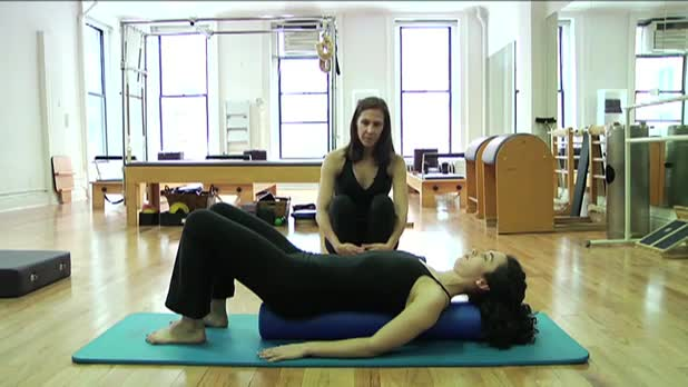 Pilates Leg Circles on the Roller - Women's Fitness