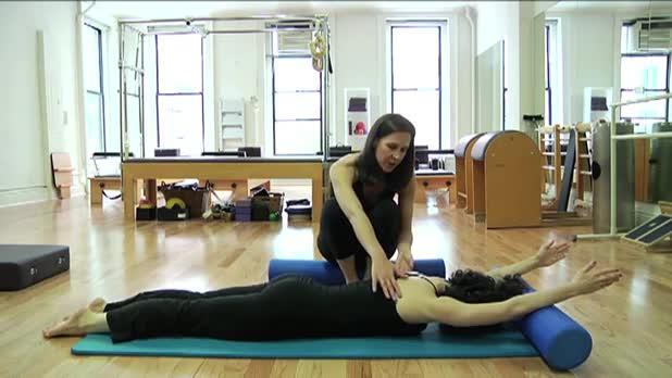 Pilates Swan on the Roller - Women's Fitness