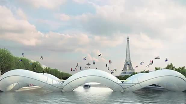 Paris Concept Bridge Has Three Massive Trampolines