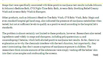 Babies Test Positive for Marijuana from Soaps and Shampoos