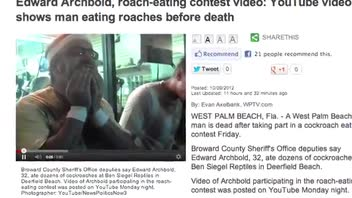 Cockroach Eating Man Dies Right After Contest