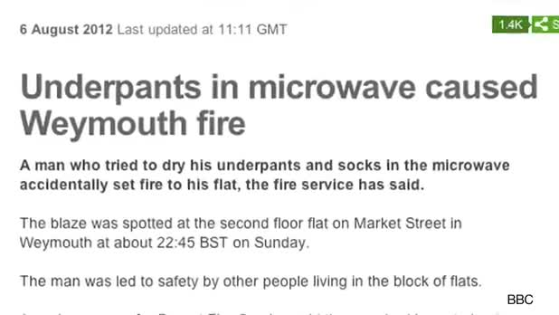 Man Causes Fire After Drying Underwear In Microwave